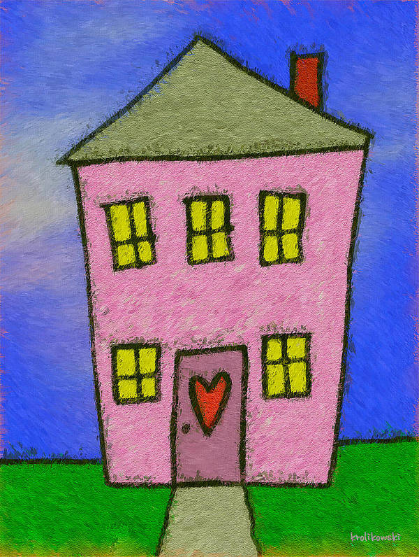 House Art Print featuring the painting A Happy Home by Kenneth Krolikowski