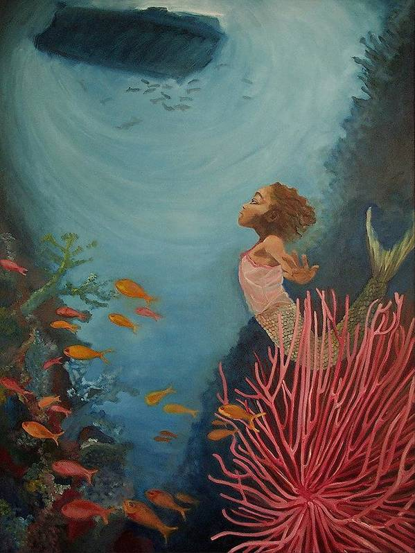 Mermaids Art Print featuring the painting A Mermaid's Journey by Amira Najah Whitfield