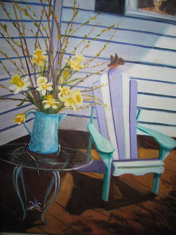 Porch Art Print featuring the painting A Surpise Visitor by Gloria Condon