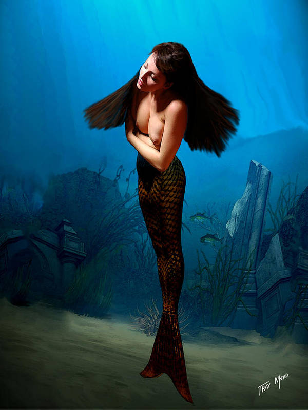 Mermaid Art Print featuring the painting A Temple Mermaid by Tray Mead