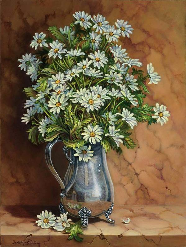 Daisies Print featuring the painting A Tribute To Lupetti by Carolyn Sterling