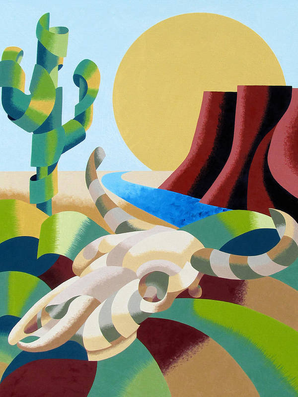 Bull Art Print featuring the painting Abstract Futurist Soutwestern Desert Landscape Oil Painting by Mark Webster