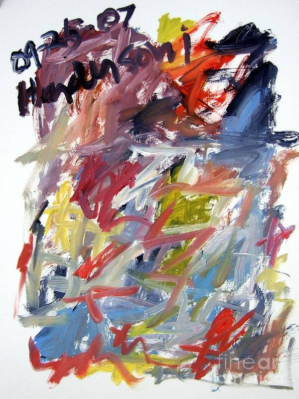Abstract Art Print featuring the painting Abstract With Black Date by Michael Henderson