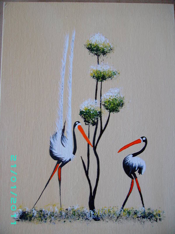 Tree Art Print featuring the painting Africa Stylized 1 by Dion Halliday