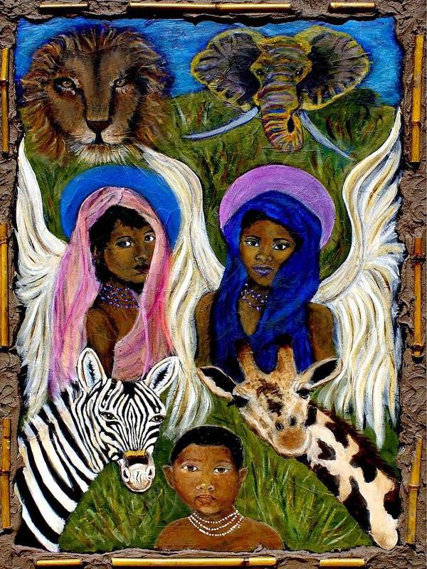 Angels Art Print featuring the painting African Angels by The Art With A Heart By Charlotte Phillips