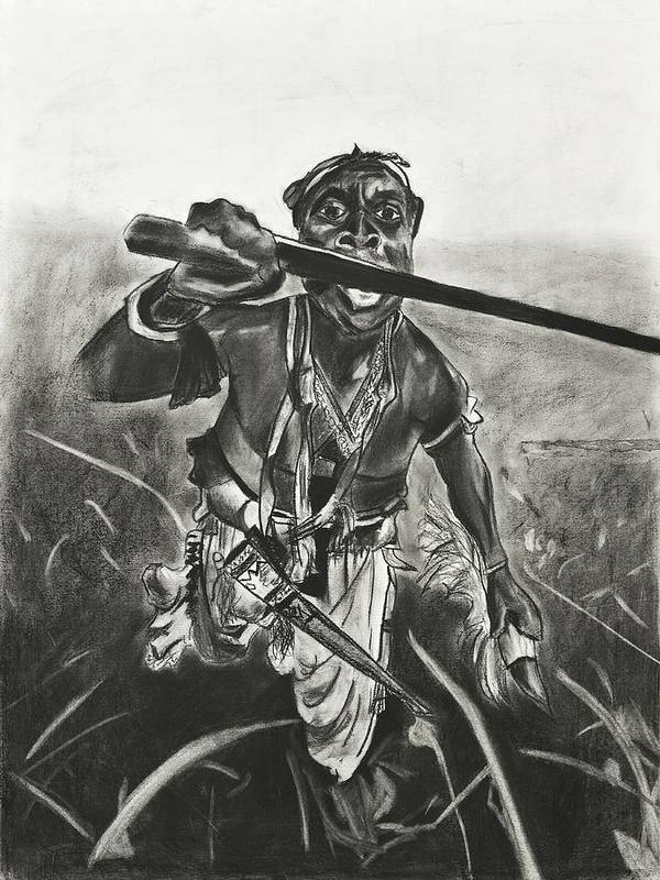 Tribal Man Art Print featuring the drawing African Warrior by Kathleen Fitzpatrick