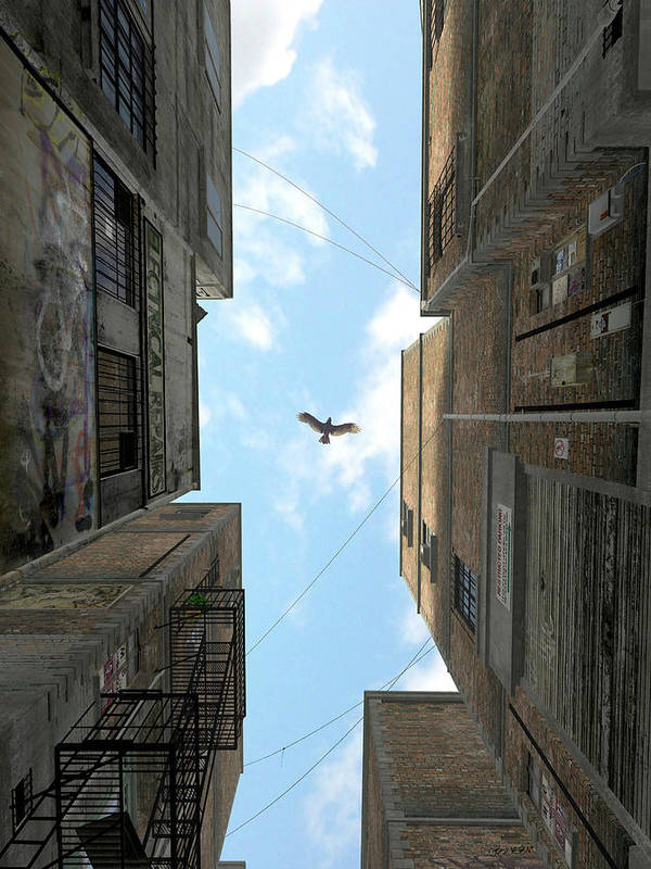Urban Art Print featuring the digital art Afternoon Alley by Cynthia Decker