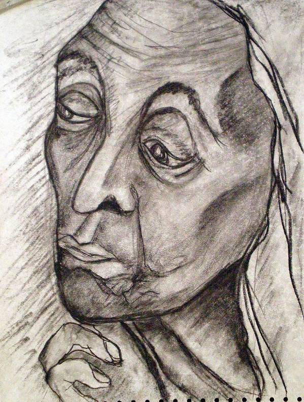 Woman Women Age Wisdom Old Portrait Portraits Art Print featuring the drawing Age And Wisdom by Tammera Malicki-Wong
