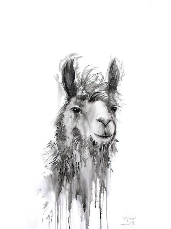 Llama Art Art Print featuring the painting Alfonso by K Llamas
