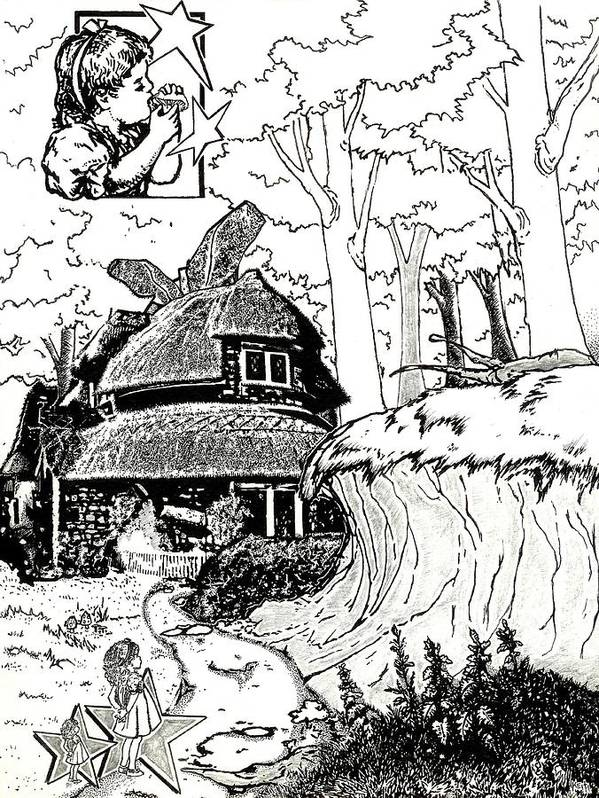 Alice In Wonderland Print featuring the drawing Alice At The March Hare's House by Turtle Caps