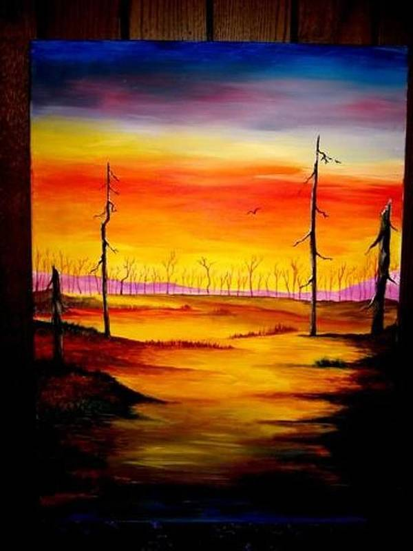 Landscape Art Print featuring the painting Alone by Glory Fraulein Wolfe