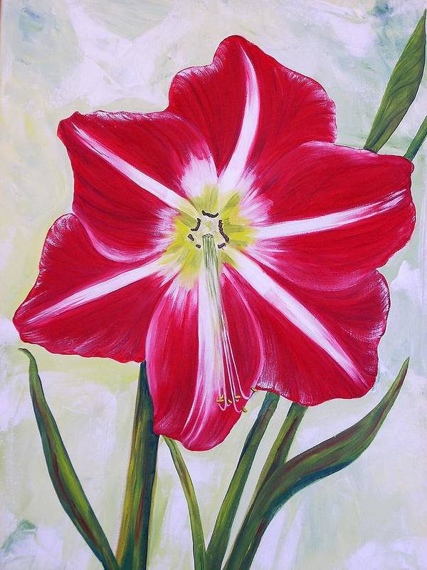 Flowers Art Print featuring the painting Amaryllis by Murielle Hebert