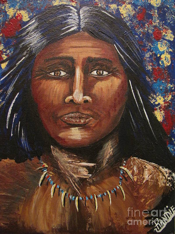 Indian Art Print featuring the painting American Indian Portrait by Randie Lee