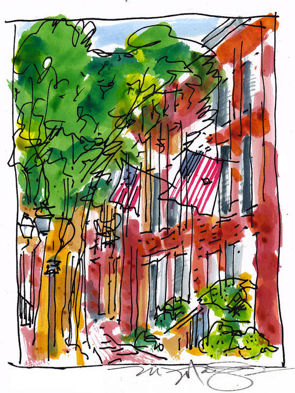 Landscape Art Print featuring the painting American Street Philadelphia by Marilyn MacGregor