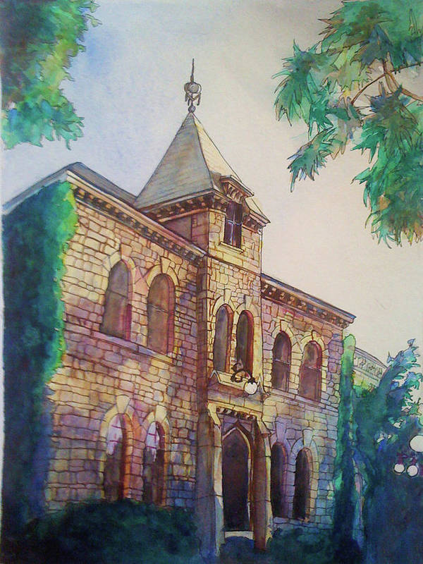 Kansas Art Print featuring the painting Anderson Hall by Julie Morrison