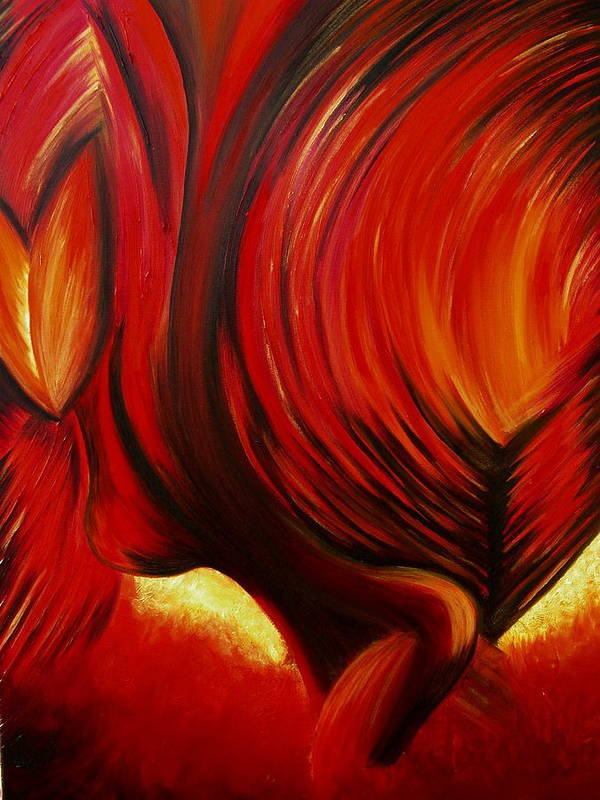 Art Print featuring the painting Angel Of Fire by Viviana Puello Villa