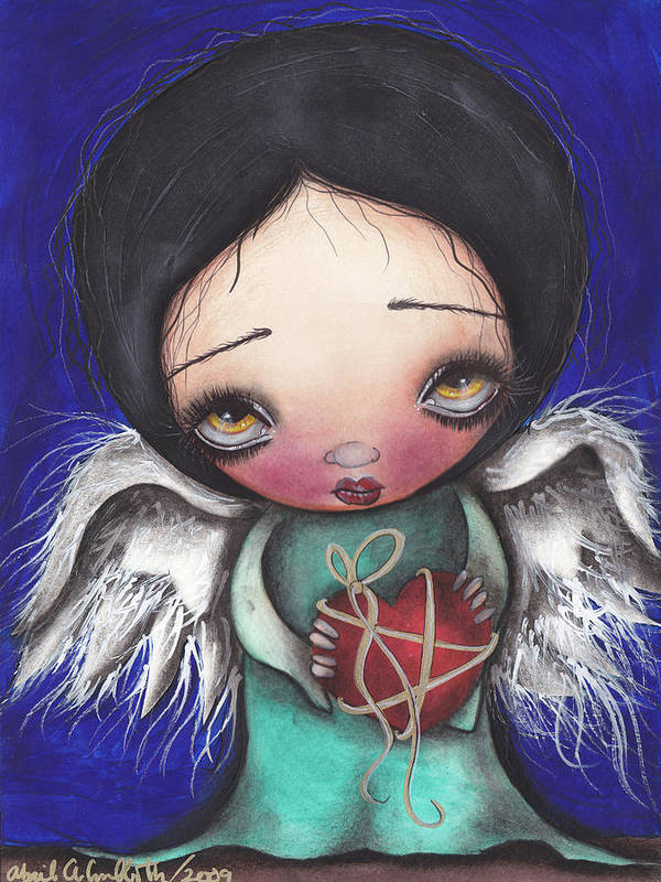 Angel Print featuring the painting Angel With Heart by Abril Andrade Griffith