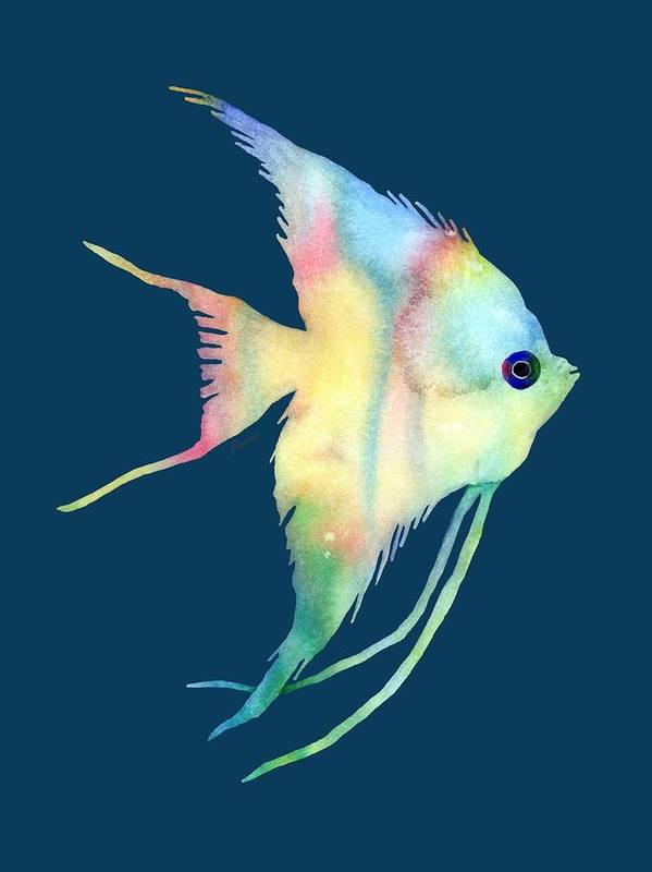 Fish Art Print featuring the painting Angelfish I - Solid Background by Hailey E Herrera