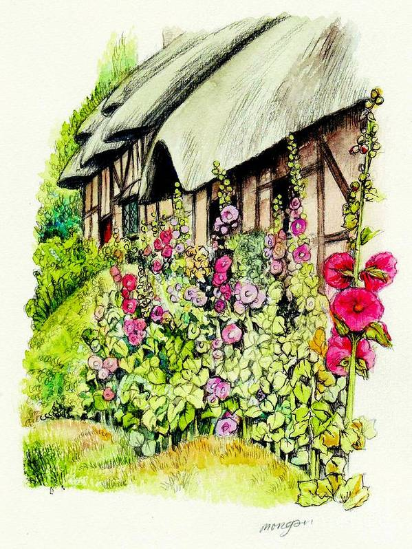 Anne Art Print featuring the painting Anne Hathaway Cottage by Morgan Fitzsimons