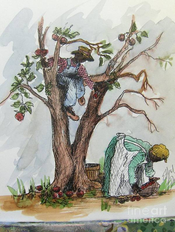 African American Art Art Print featuring the painting Apple Pickers by Ethel Dixon