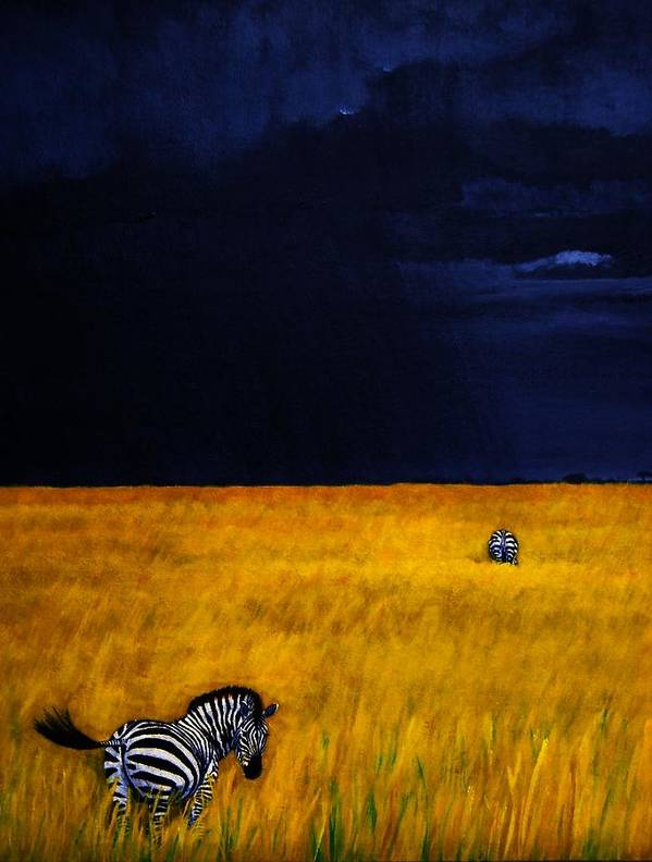 African Landscape Zebra Storm Clouds Edith Peterson Watson Scenery Nature Animals Wildlife Art Print featuring the painting Approaching Storm by Edith Peterson