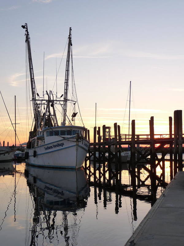 Twilight Shrimp Boat Docks Piers Pilings Sailboats Sunset Reflections Art Print featuring the photograph April Afternoon by Joel Deutsch