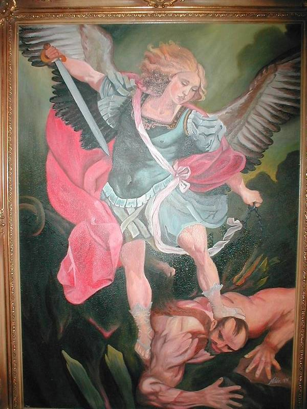 Archangel Michael Fighting Satan Art Print By Hilde Sanders