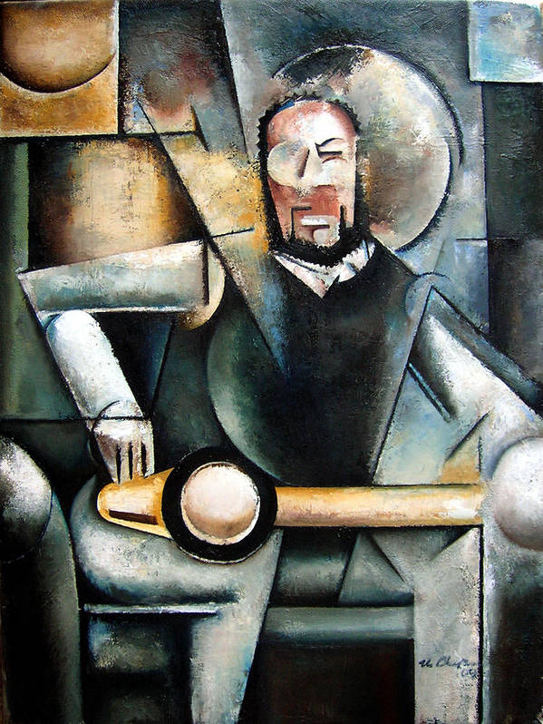 Ornette Coleman Jazz Saxophonist Cubism Art Print featuring the painting Architect by Martel Chapman