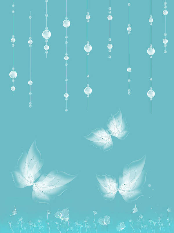 Butterfly Art Print featuring the digital art Art En Blanc - S11a by Variance Collections