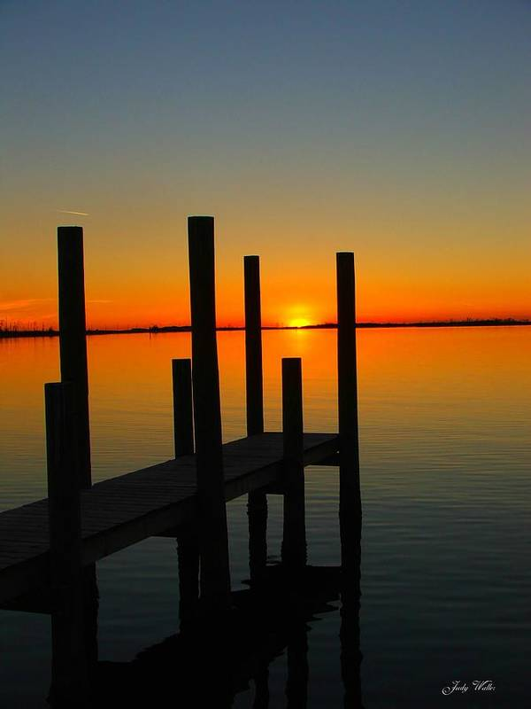 Sunset Art Print featuring the photograph At The Pier by Judy Waller