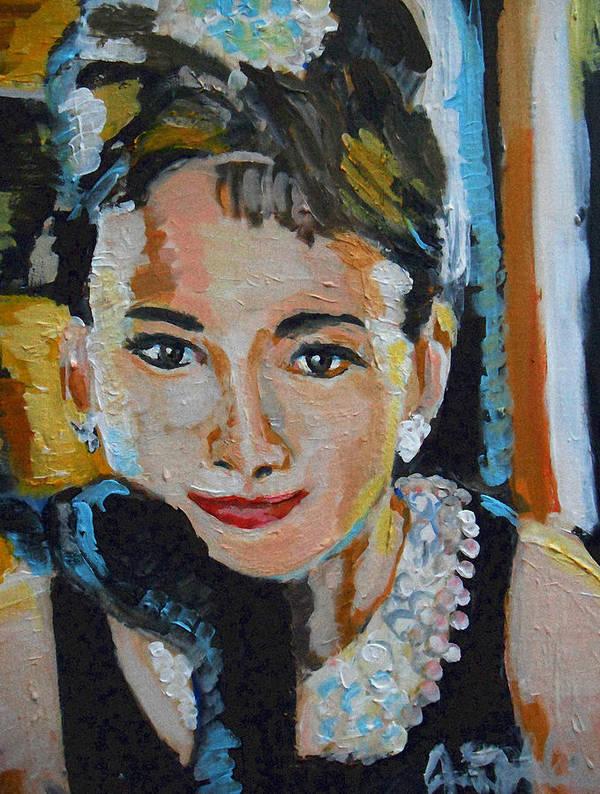 Movie Star Art Print featuring the painting Audrey Hepburn by Jon Baldwin Art