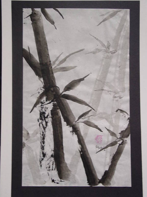 Bamboo Art Print featuring the painting Bamboo by Robin Miller-Bookhout