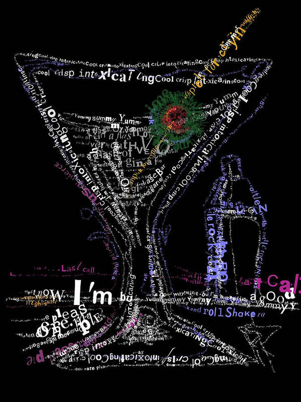 Martini Art Print featuring the digital art Bar Talk by Russell Pierce