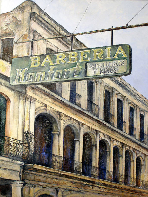 Konfort Barberia Old Havana Cuba Oil Painting Art Urban Cityscape Art Print featuring the painting Barberia Konfort by Tomas Castano