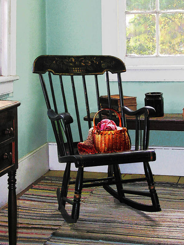 Rocking Chair Art Print featuring the photograph Basket Of Yarn On Rocking Chair by Susan Savad