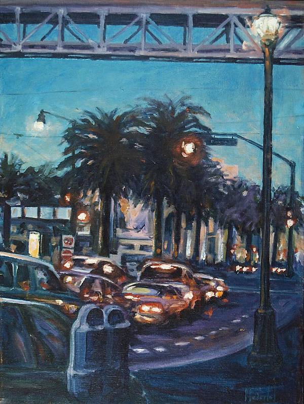 City Scape Art Print featuring the painting Bay Bridge by Rick Nederlof