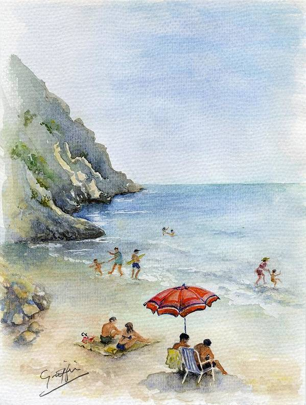 Spain Art Print featuring the painting Beach Umbrella by Mai Griffin