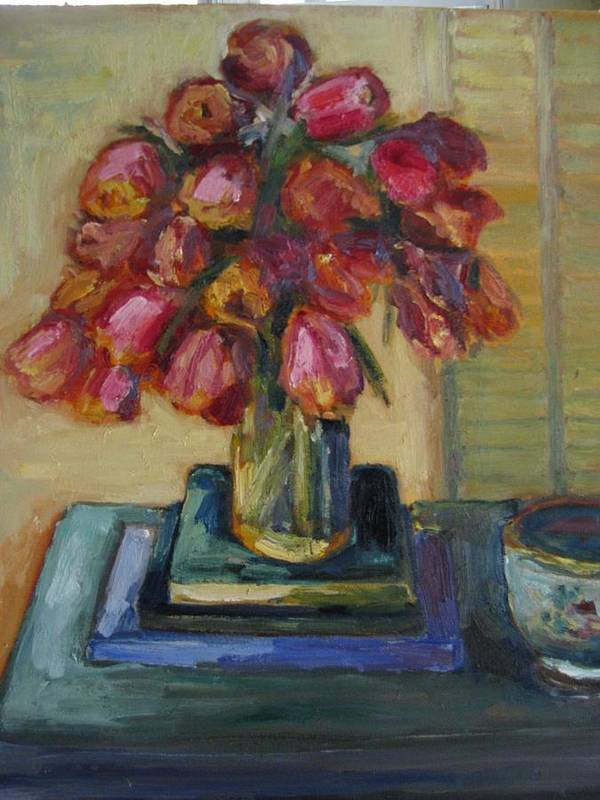 Still Life Art Print featuring the painting Beautiful Tulips by Sharon Franke