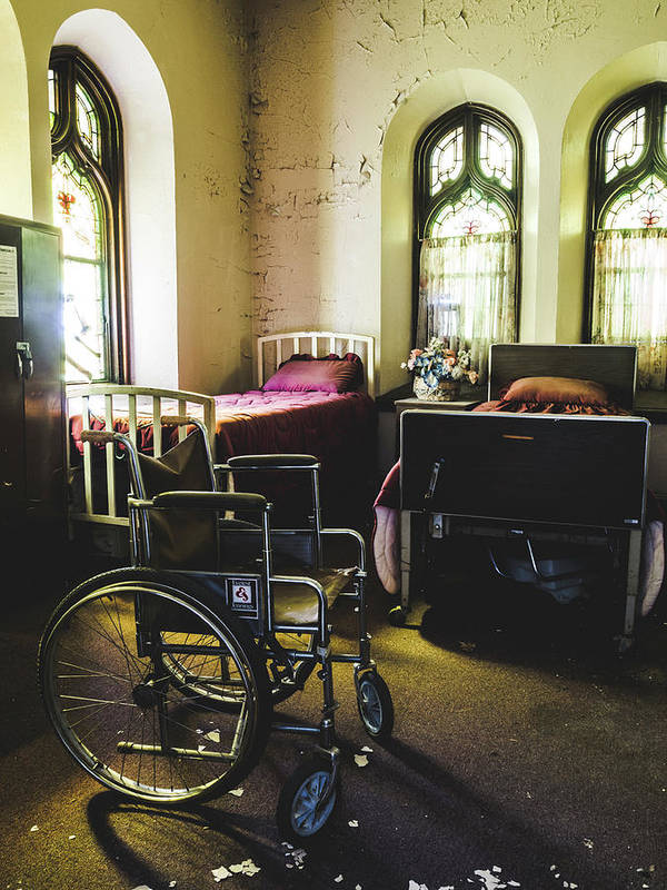 Abandoned Art Print featuring the photograph Beds And Wheelchair In Abandoned Church by Dylan Murphy