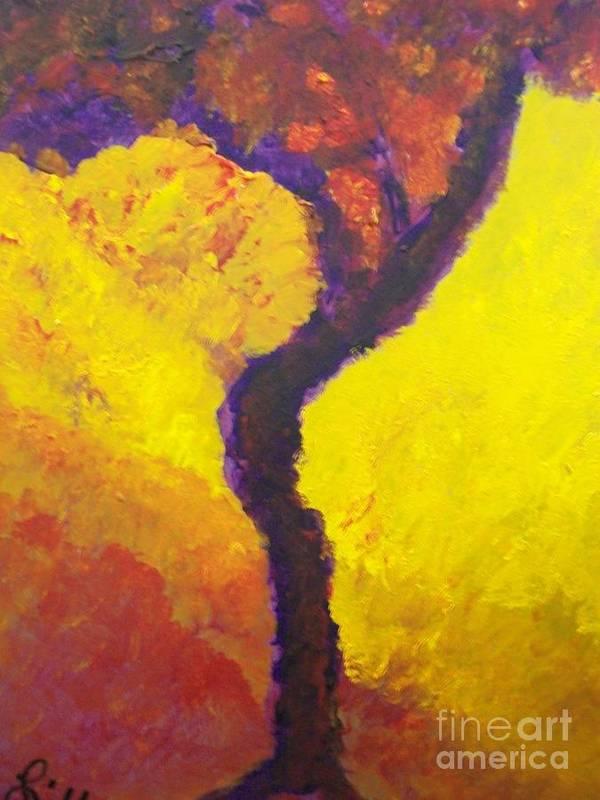 Bendy Tree Art Print featuring the painting Bendy Tree by Laurette Escobar