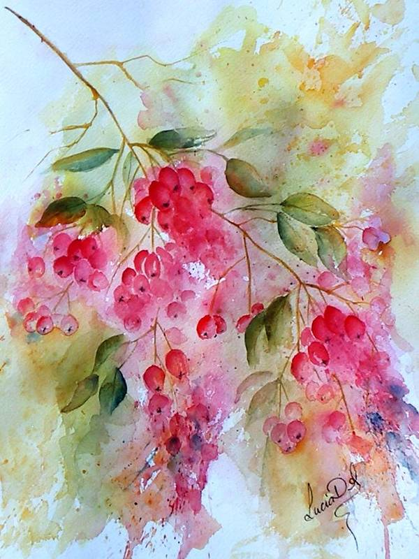 Red Berries Art Print featuring the painting Berries Galore by Lucia Del