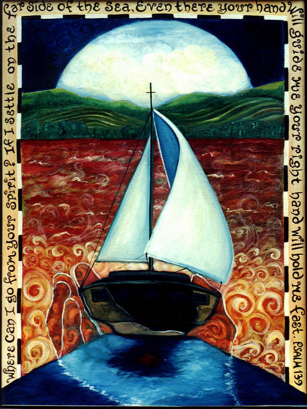 Sailboat Art Print featuring the painting Beyond These Shores by Teresa Carter