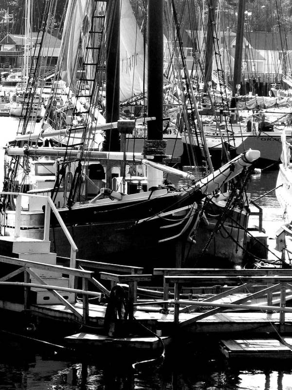 New England Art Print featuring the digital art Big Boats by Donna Thomas