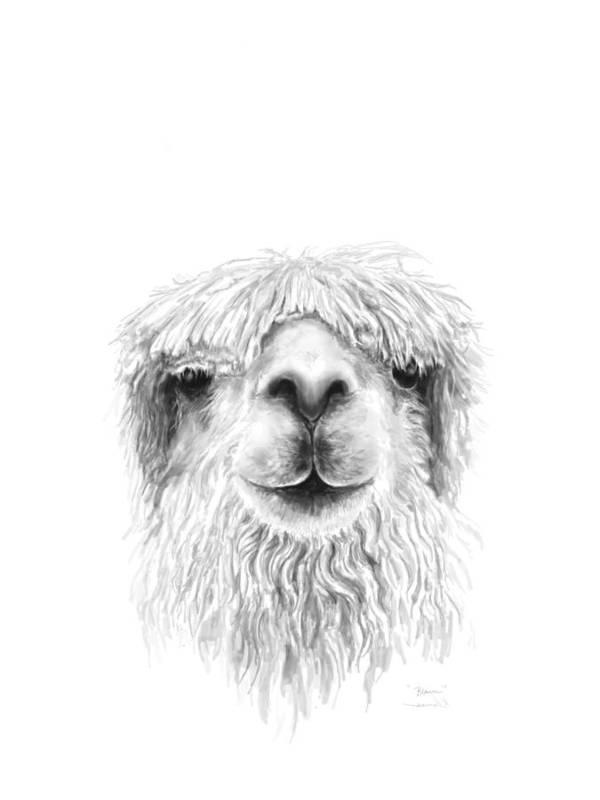 Llama Art Art Print featuring the drawing Blain by K Llamas