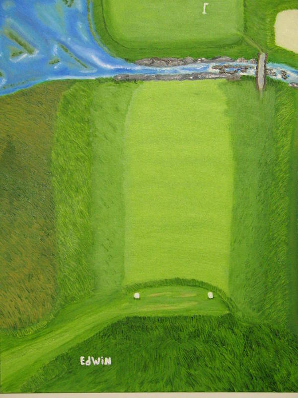 Golf Art Print featuring the painting Blimp View Golf by Edwin Long
