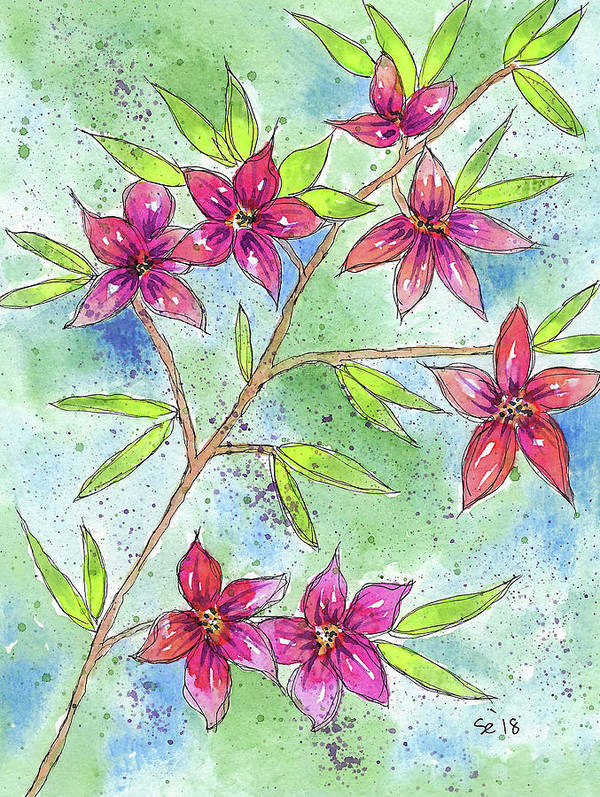 Watercolor And Ink Art Print featuring the painting Blooming Flowers by Susan Campbell