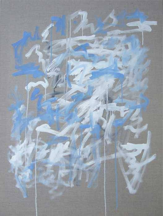 Abstract Art Print featuring the painting Blue And White Composition by Michael Henderson