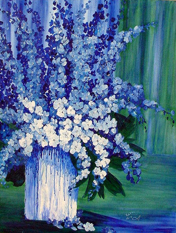 Flower Art Print featuring the painting Blue And White Delphiniums In Vase by Carol Nelissen