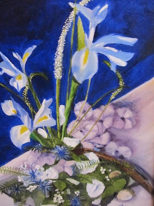 Iris Art Print featuring the painting Blue Iris by Gloria Condon