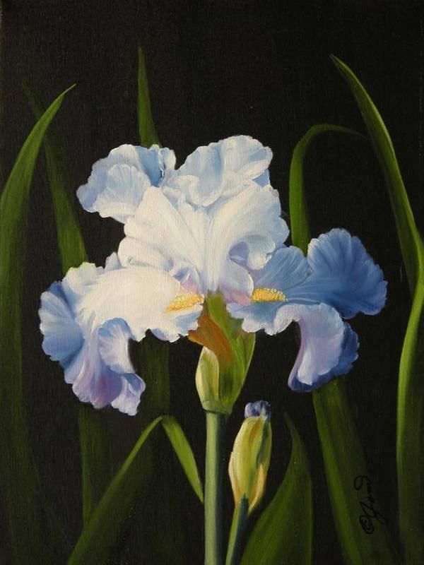 Flower Art Print featuring the painting Blue Iris by Joni McPherson